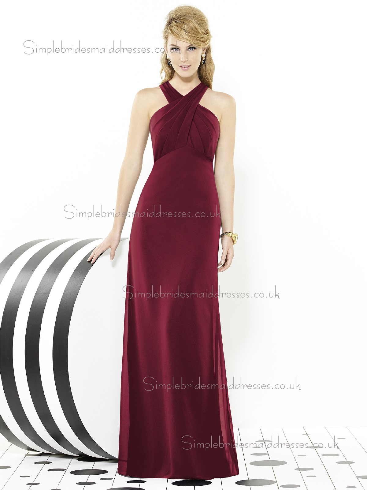 Burgundy / Red Floor-length Mermaid Sleeveless V-neck Empire Chiffon Ruched Bridesmaid Dress