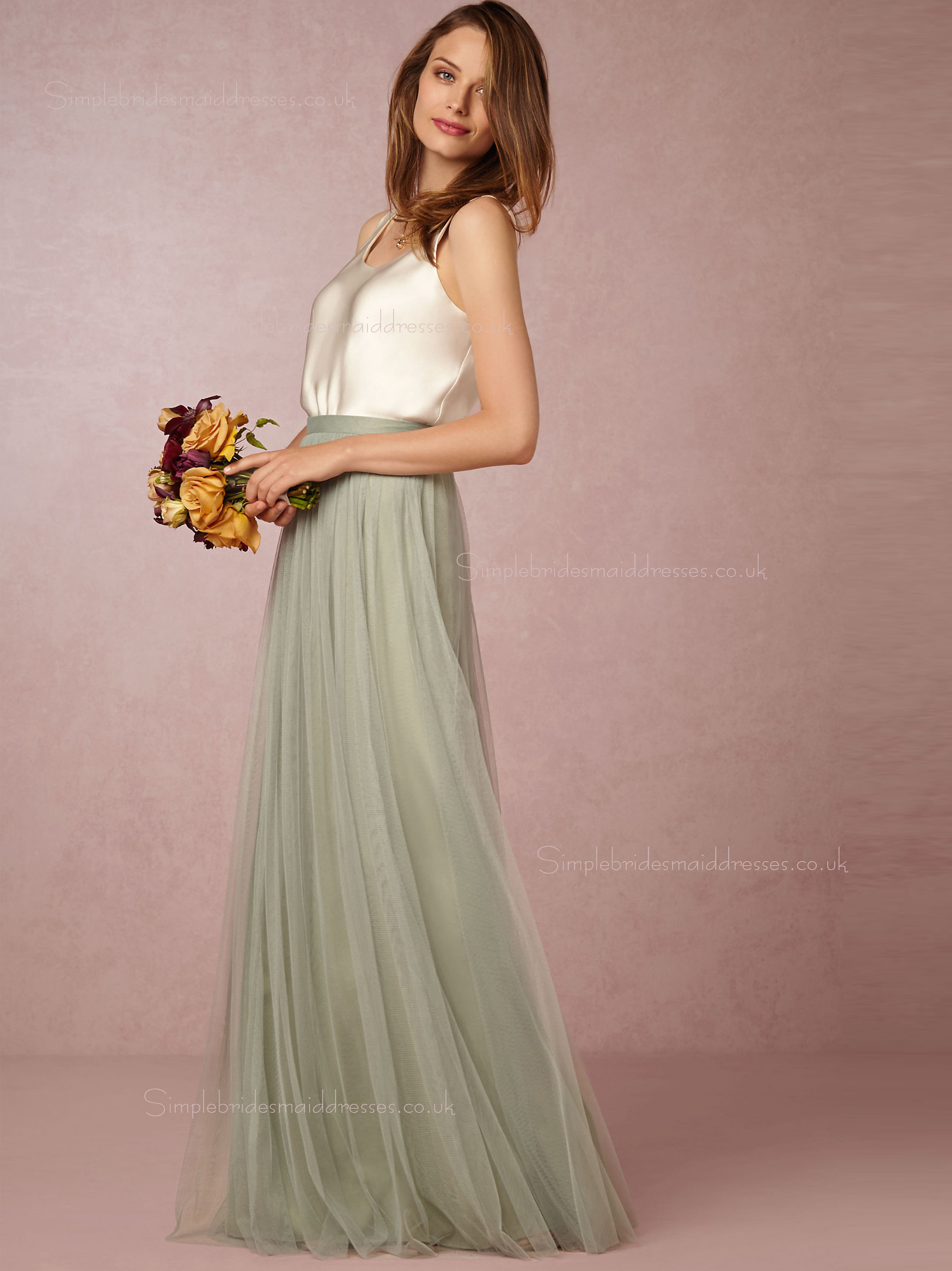 Popular A-line Bateau Green Natural Backless Bridesmaid Dresses