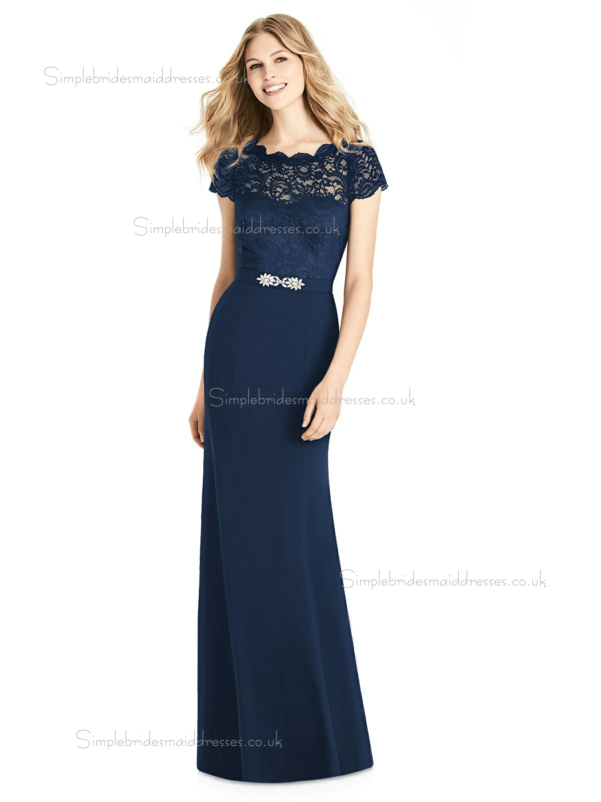Elegant Amazing Column / Sheath Belt / Beading / Lace Satin Dark Navy floor-length Bridesmaid Dress