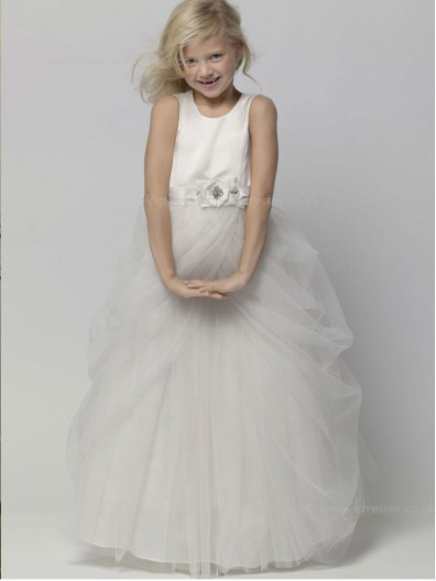 Ivory A-line Hand Floor-length Scoop Flower Organza / Satin Sleeveless Made Flower Girl Dress