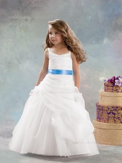 White Flower Sleeveless Organza Made Floor-length A-line Tiered / Hand V-neck Flower Girl Dress
