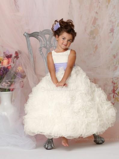 Bateau White Organza Gown Ball Sleeveless Ruffles / Sash Floor-length Cascading Flower Girl Dress