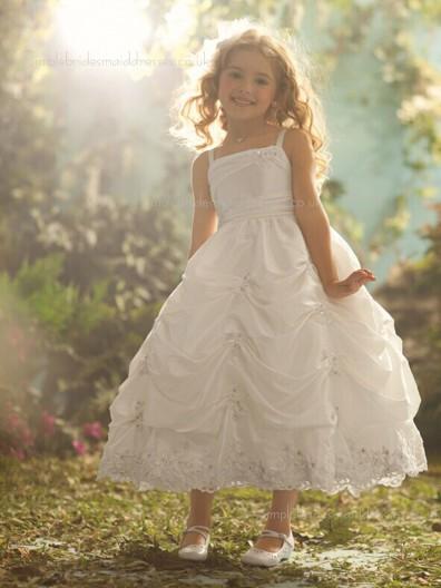 Ivory Ankle Taffeta Length Lace / Beading Ball Gown Bateau Sleeveless Flower Girl Dress