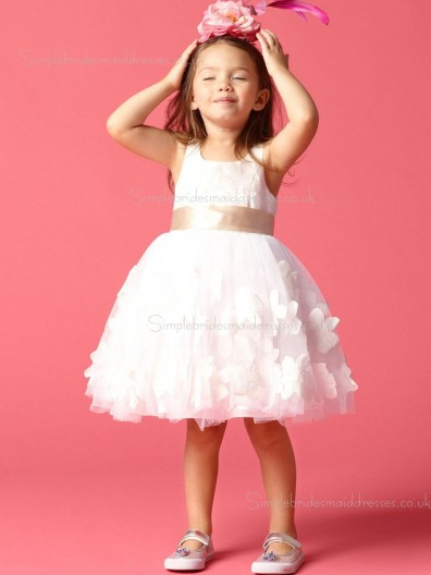 Hand Ivory Made Gown Ball Neck U Flower / Sash Satin Flower Girl Dress