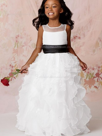 Floor-length Sleeveless Tiered / Sash White Organza Column / Sheath Scoop Flower Girl Dress
