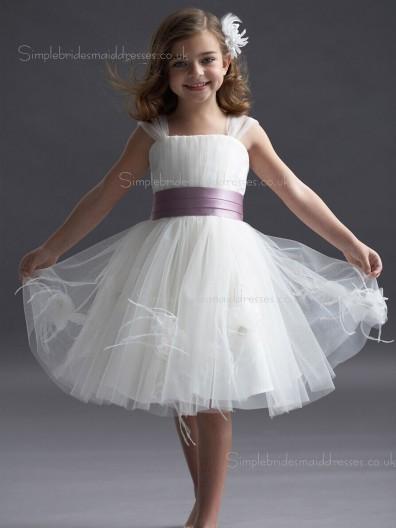 Bateau White Knee-length Organza Flower / Sash Made Sleeveless A-line Tiered / Hand Flower Girl Dress