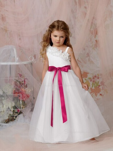 Asymmetric Made Sleeveless A-line Organza White Bowknot / Hand Flower Floor-length Flower Girl Dress