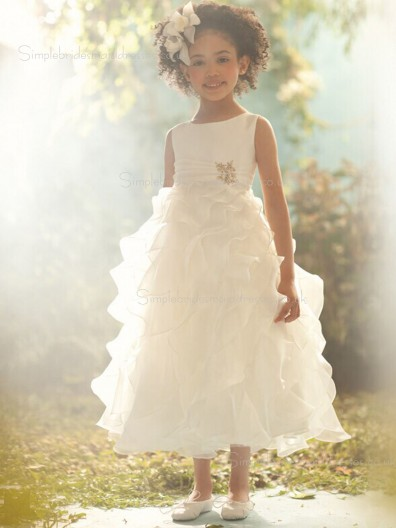Ankle A-line Sleeveless Ivory Length Beading / Tiered Organza Scoop Flower Girl Dress