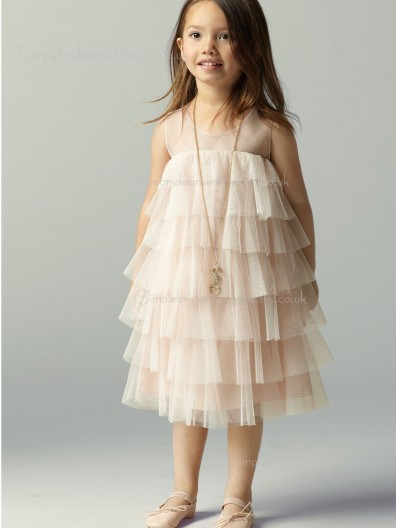 Scoop Champagne Tea-length Tiered Sleeveless Tulle A-line Flower Girl Dress