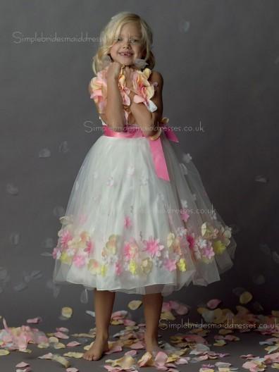 Bowknot / Hand Shaped Organza Sleeveless Flower Made Tea-length A-line Neck Flower Girl Dress