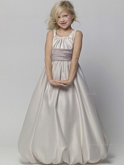 A-line Floor-length Sash Gray Neck Satin U Shaped Sleeveless Flower Girl Dress