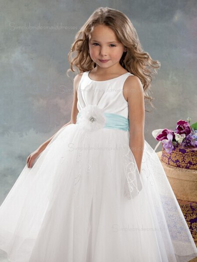 Hand Sleeveless Bateau Floor-length Organza Flower A-line White Made Flower Girl Dress