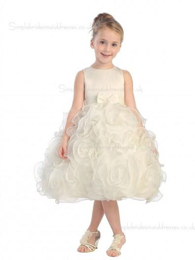 Organza Champagne Bowknot / Hand Knee-length Sleeveless Scoop Flower A-line Made Flower Girl Dress
