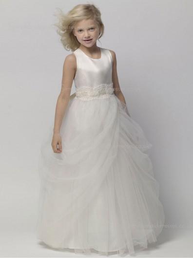 Applique / Tiered Gray Sleeveless A-line Floor-length Organza Scoop Flower Girl Dress