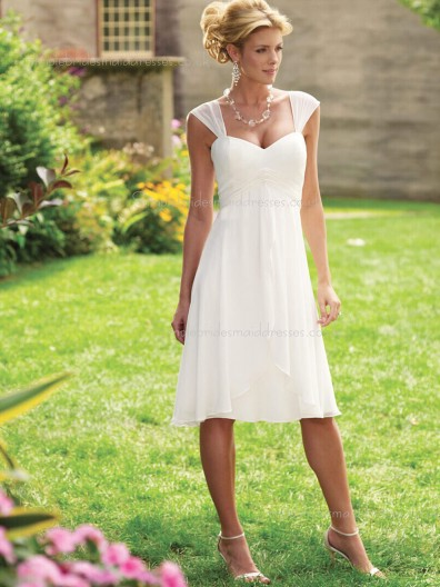 V-neck Sleeveless A-line Empire Knee-length Zipper Ruched/Tiered White Chiffon Bridesmaid Dress