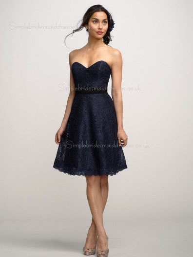 Natural Sweetheart Strapless A-line Black Sash/Applique Zipper Knee-length Lace Bridesmaid Dress