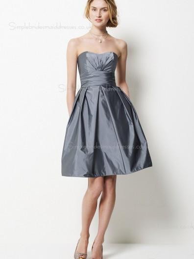 Silver A-line Short-length Zipper Bateau Sleeveless Taffeta Empire Sash/Ruffles Bridesmaid Dress