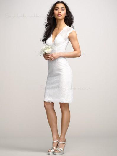 Short-length Column Sheath V-neck Lace Sleeveless Natural White Zipper Applique Bridesmaid Dress