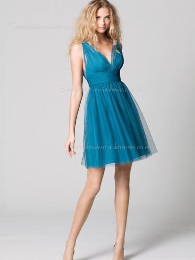 A-line Chiffon Sleeveless Zipper V-neck Hunter Sash/Ruffles Short-length Empire Bridesmaid Dress
