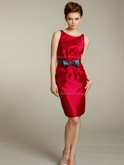 Sleeveless Red Bow Bateau Short-length Satin A-line Zipper Natural Bridesmaid Dress