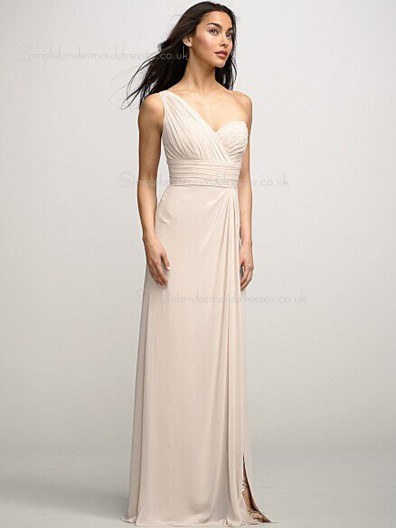 Zipper One Shoulder Empire Chiffon Ruffles/Split Sleeveless Champagne Column Sheath Sweep Bridesmaid Dress