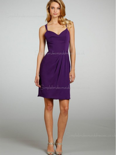 Sleeveless V-neck Short-length Column Sheath Chiffon Backless Regency Draped Dropped Bridesmaid Dress