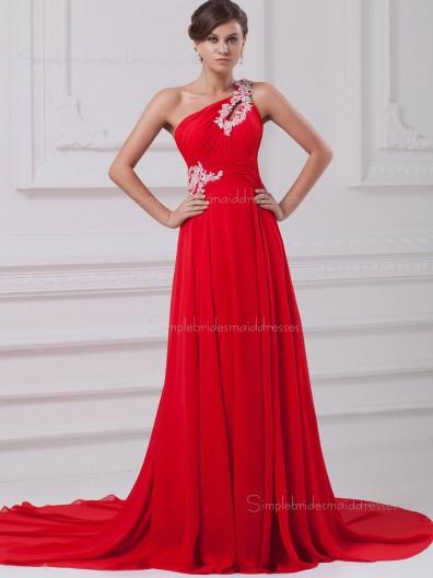 Red Zipper Chiffon A-line Sweep Empire Sleeveless Beading/Ruffles One Shoulder Bridesmaid Dress