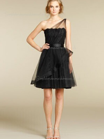 Shoulder Natural Organza Short-length Sleeveless A-line One Shoulder Zipper Lace Black Bridesmaid Dress