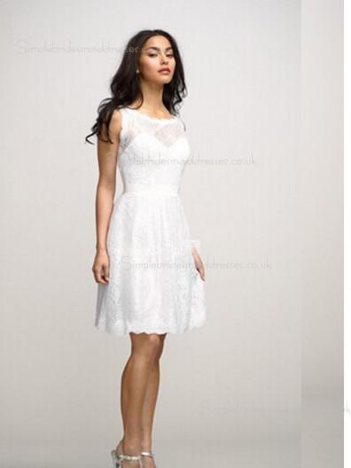 White Sash/Applique Natural Bateau Lace A-line Sleeveless Knee-length Zipper Bridesmaid Dress