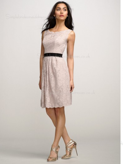 Knee-length A-line Bateau Backless Pink Natural Sleeveless Sash/Applique Lace Bridesmaid Dress