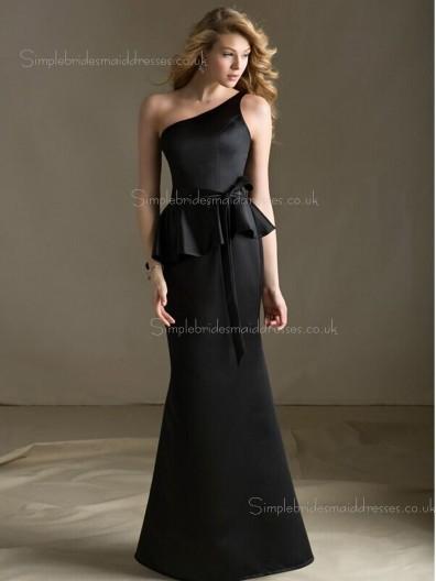 Black Floor-length Sash/Tiered One Shoulder Column Sheath Zipper Sleeveless Satin Natural Bridesmaid Dress