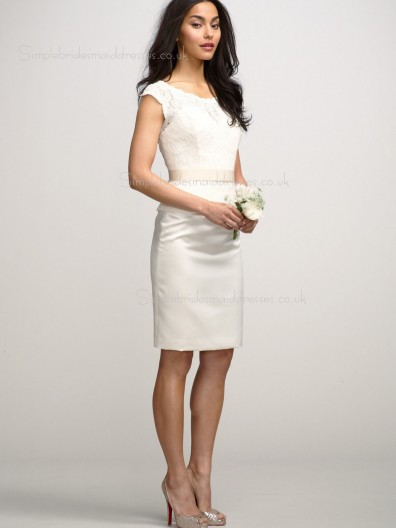 Column Sheath Lace Zipper Natural White Bateau Cap Sleeve Knee-length Sash/Applique Bridesmaid Dress