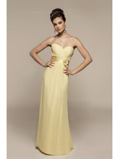 Floor-length Zipper Sweetheart Column Sheath Yellow Flowers/Ruffles Empire Chiffon Sleeveless Bridesmaid Dress