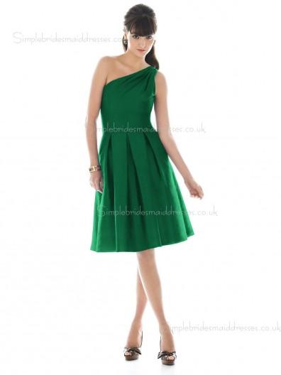 Knee-length One Shoulder Draped Backless A-line Natural Satin Sleeveless Dark Green Bridesmaid Dress
