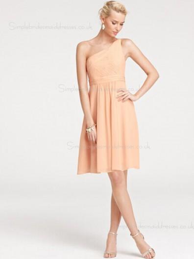 Orange One Shoulder Chiffon Zipper Side Sleeveless Empire Draped Knee-length A-line Bridesmaid Dress