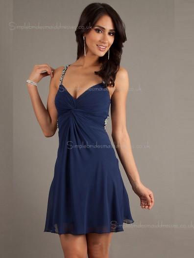 Dark Navy Backless Beading/Ruffles Short-length A-line Empire Chiffon V-neck Sleeveless Bridesmaid Dress