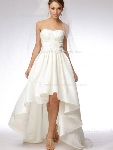 Ivory Bateau Empire Elastic Satin Sweep Zipper Flowers/Ruched Sleeveless A-line Bridesmaid Dress