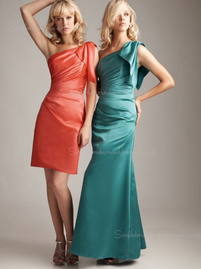 Dropped One Shoulder Split/Ruched Zipper Column Sheath Satin Sleeveless Bridesmaid Dress