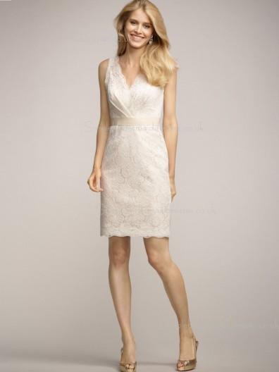 Column Sheath Sleeveless Sash/Applique V-neck Natural Short-length Zipper Lace Ivory Bridesmaid Dress