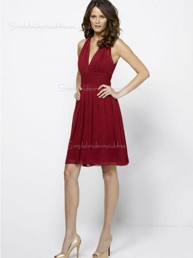 Fuchsia Sleeveless V-neck Short-length Backless Ruffles Empire A-line Chiffon Bridesmaid Dress