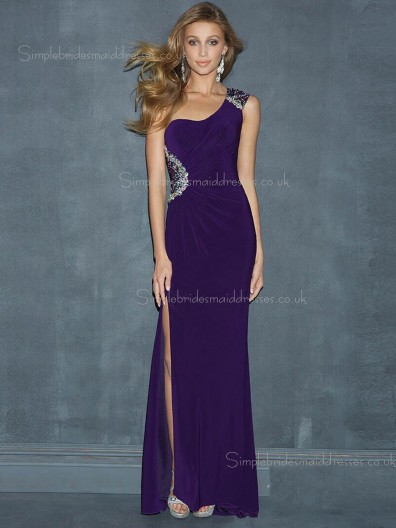 Zipper Side Floor-length Sleeveless Dropped Beading/Split Chiffon Regency A-line One Shoulder Bridesmaid Dress