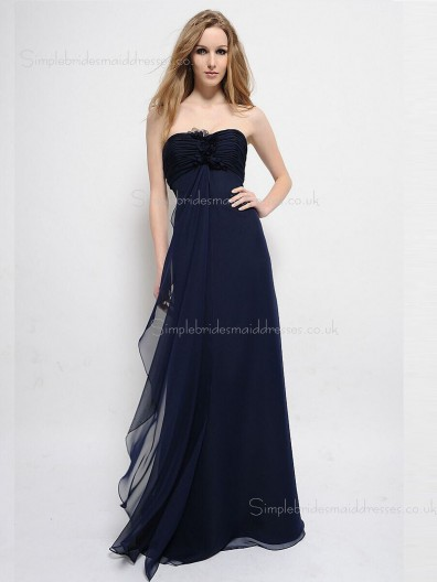 Zipper Empire Sleeveless Bateau Dark Navy Chiffon Flowers Sweep A-line Bridesmaid Dress
