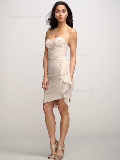 Dropped Ruffles Sweetheart Chiffon Short-length Backless Sleeveless Column Sheath Indy Pink Bridesmaid Dress