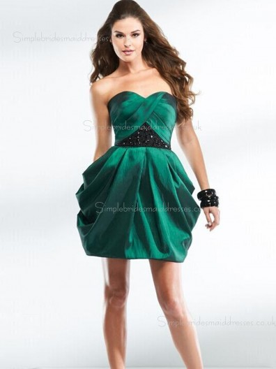 Hunter Sweetheart A-line Satin Beading Mini Empire Zipper Sleeveless Bridesmaid Dress