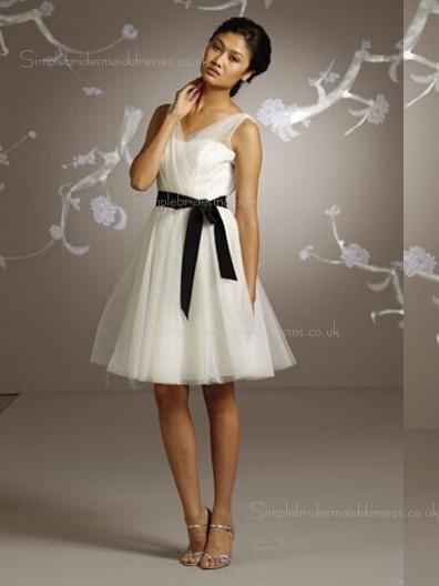 V-neck Sleeveless Chiffon Belt Short-length Natural A-line White Zipper Bridesmaid Dress