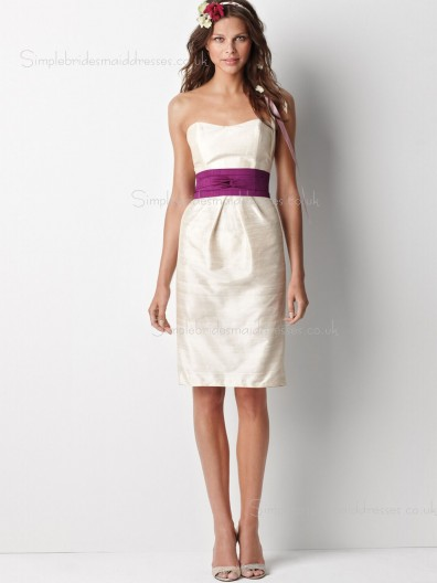 Bateau Zipper Knee-length Sleeveless Sash Ivory Empire Taffeta Gown Ball Bridesmaid Dress