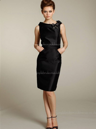 Satin High Neck Sleeveless Zipper Black Knee-length Column Sheath Natural Flowers Bridesmaid Dress