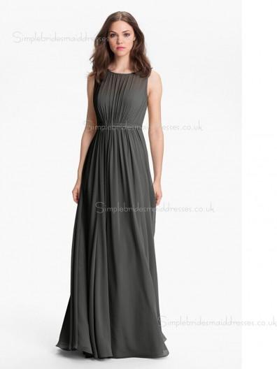 Dropped Gray Floor-length Sleeveless Bateau Zipper A-line Chiffon Draped Bridesmaid Dress