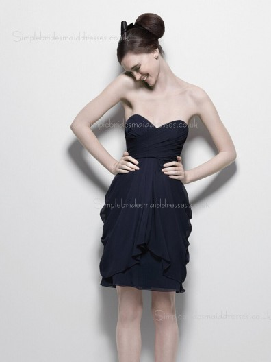 Tiered/Ruched Empire Zipper Short-length V-neck Black Chiffon Sleeveless A-line Bridesmaid Dress