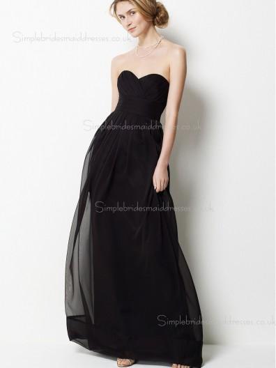 Column Sheath Sleeveless Empire Chiffon Draped Floor-length Sweetheart Zipper Black Bridesmaid Dress